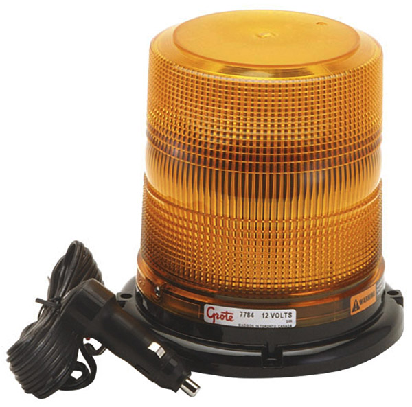 77843 – High Profile Class II LED Strobe, Magnet Mount w/ Cigarette Lighter Adapter, Yellow