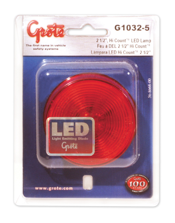 G1032-5 – Hi Count® 2 1/2″ LED Clearance Marker Light, Optic, Red, Retail Pack