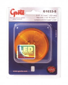 G1033-5 – Hi Count® 2 1/2″ LED Clearance Marker Light, Optic, Yellow, Retail Pack