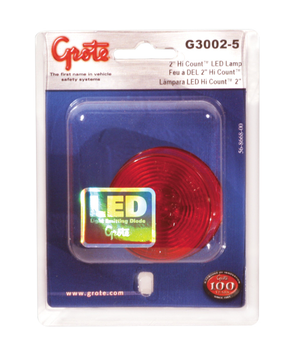 G3002-5 – Hi Count® 2″ 9-Diode LED Clearance / Marker Lamp, P2 Rated 12V, Red, Retail Pack