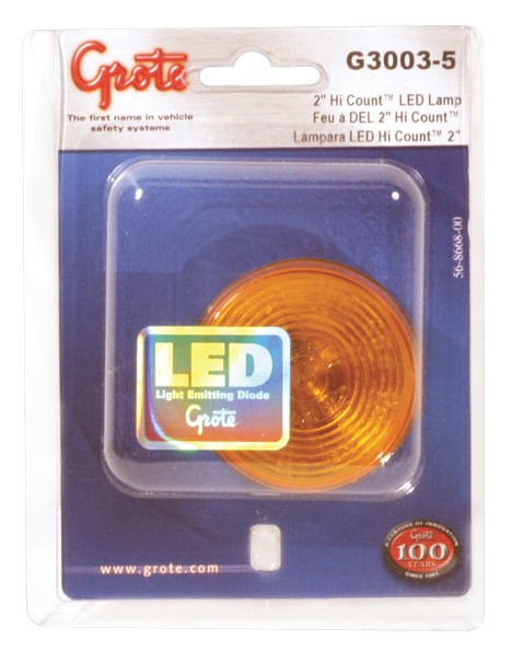 Grote Industries - G3003-5 – Hi Count® 2″ 9-Diode LED Clearance Marker Light, Yellow, Retail Pack