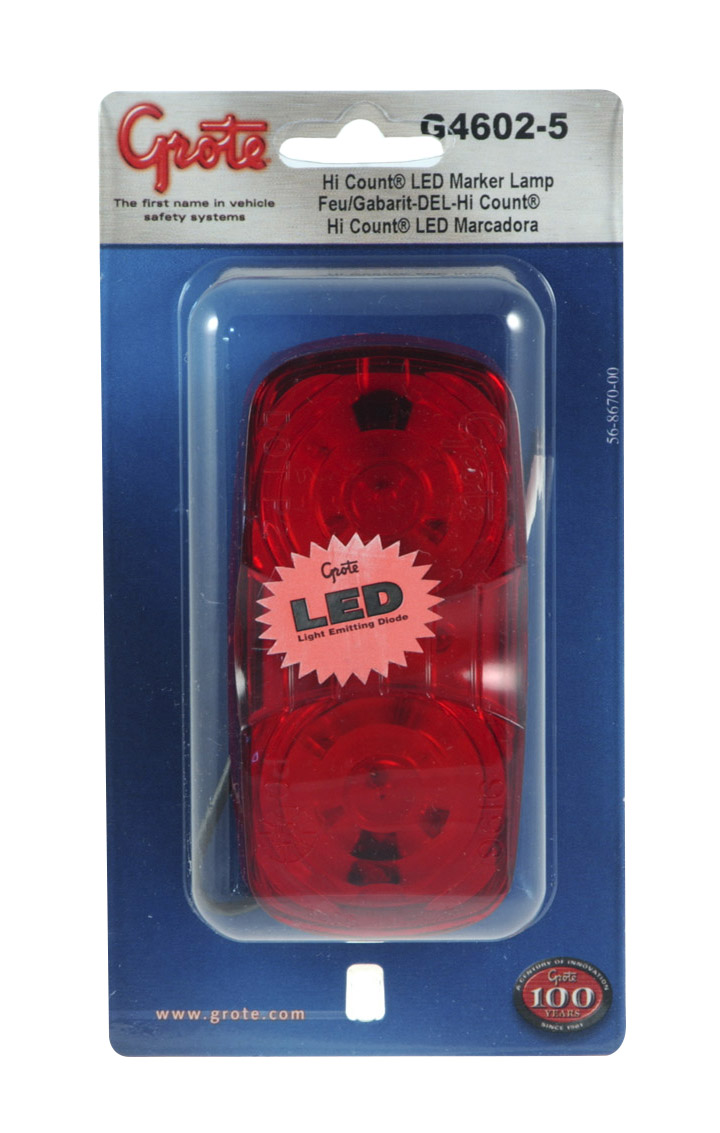 G4602-5 – Hi Count® Square-Corner 13-Diode LED Clearance Marker Light, Red, Retail Pack