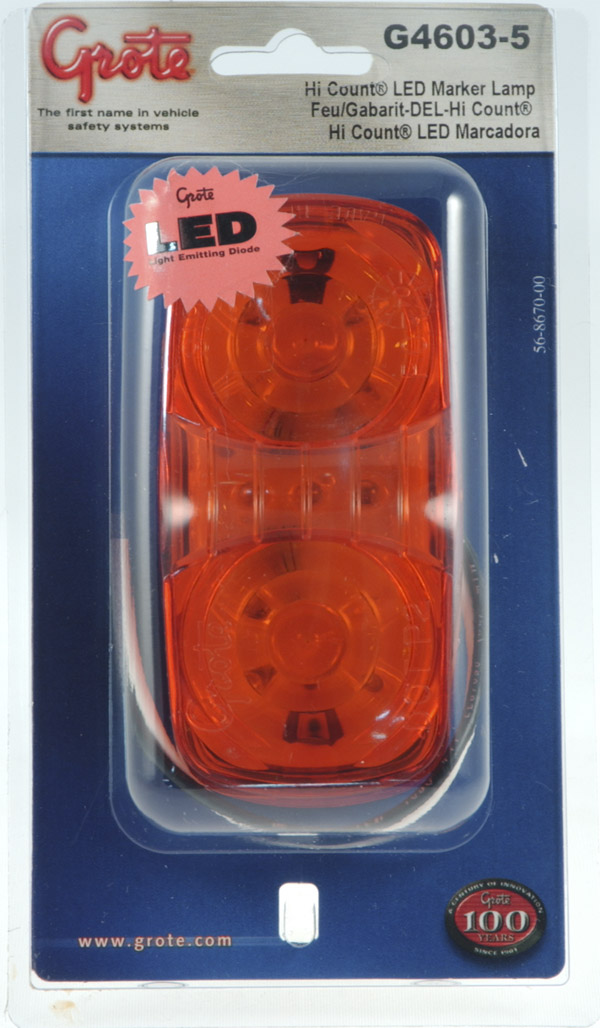 Grote Industries - G4603-5 – Hi Count® Square-Corner 13-Diode LED Clearance Marker Light, Yellow, Retail Pack