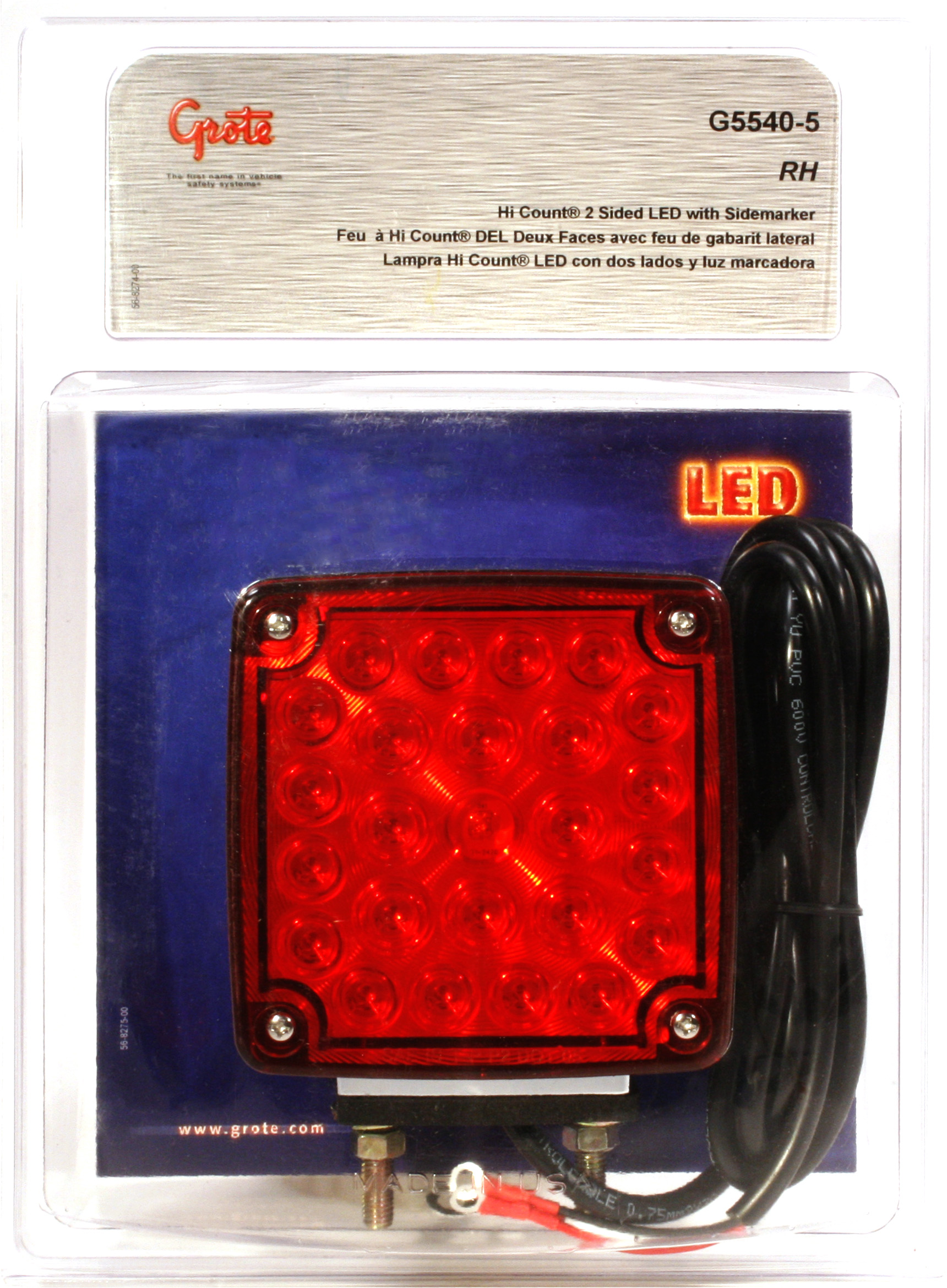 G5540-5 – Hi Count® Double-Face LED Stop Tail Turn Light w/ Side Marker, RH, Red/Yellow, Retail Pack