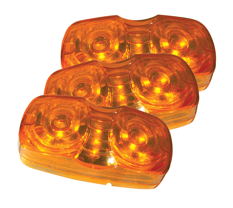 hi count square corner 13 diode led clearance marker light yellow bulk