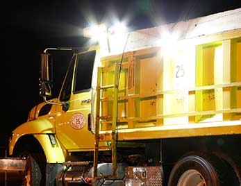 Grote lights on a dump truck