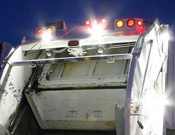 Grote lights on a municipal trash truck