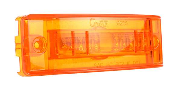 Grote Industries - 54003 – SuperNova® Sealed Turtleback® II LED Clearance Marker Light, Dual Intensity, Optic Lens, Male Pin, Yellow