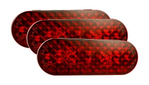 54722-3 – 6″ Oval LED Stop Tail Turn Lights, Integrated AMP Termination, Red, Bulk Pack