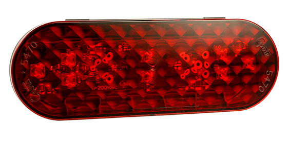 54752 – 6″ Oval LED Stop Tail Turn Light, Male Pin Termination, Red