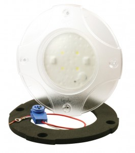61E21 – LED WhiteLight™ 4″ Dome Light, Euro Flange, Male Pin, 12V, Clear