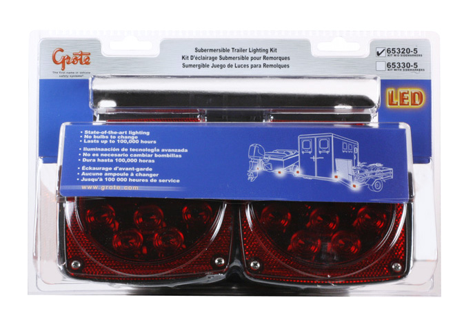 65320-5 – Submersible LED Trailer Lighting Kit, w/out Clearance Marker, Red, Retail Pack