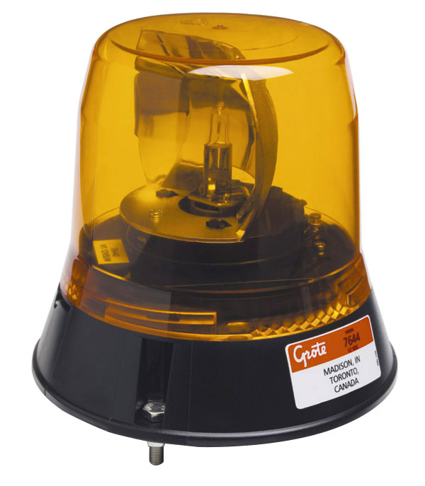 Grote Industries - 76443 – Low-Profile Belt Drive Revolving Beacon, Yellow