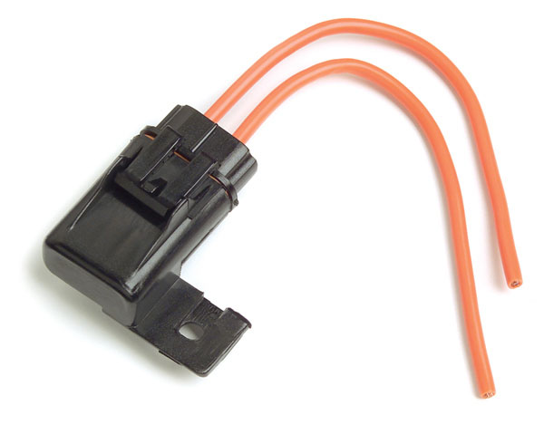 82-2166 – ATO®/ATC® Fuse Holder, 12 Gauge, 30A, w/ Protective Cap & Mounting Tab, Orange