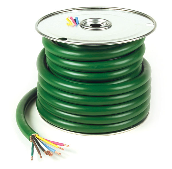 82-5621 – Trailer Cable, ABS, 4/12 & 2/10 & 1/8 Gauge, 7 Conductor, Wire Length 100′
