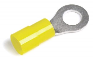 83-2458 – Nylon Ring Terminals, 12 – 10 Gauge, Extended Barrel, 3/8″ Stud Size, 50pk