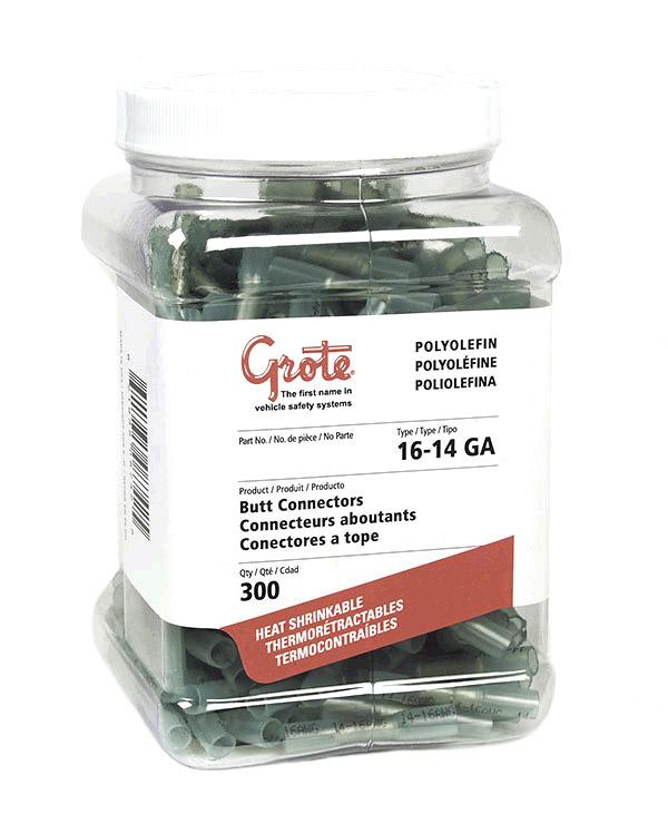 Grote Industries - 83-3350-3 – Heat Shrinkable Butt Connectors – Polyolefin, 16 – 14 Gauge, 300pk