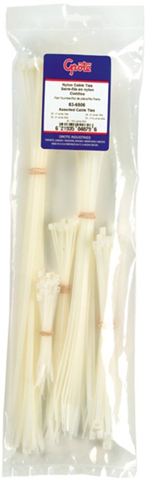 83-6506 – Cable Tie Assortment, 18-50 lb Tensile Strength, White