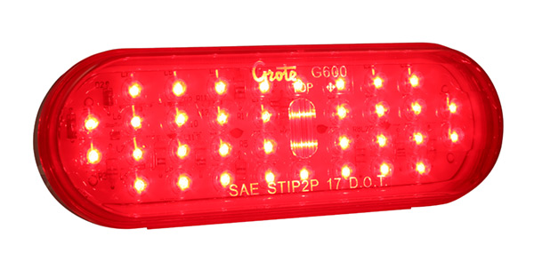Grote Industries - G6002-3 – Hi Count® Oval LED Stop Tail Turn Light, Red, Bulk Pack