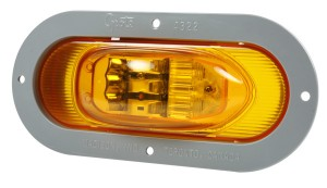 54243 – SuperNova® Oval LED Side Turn Marker Light, Gray Theft-Resistant Flange, Male Pin, Yellow