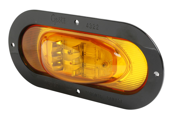 54253 – SuperNova® Oval LED Side Turn Marker Light, Black Theft-Resistant Flange, Male Pin, Yellow