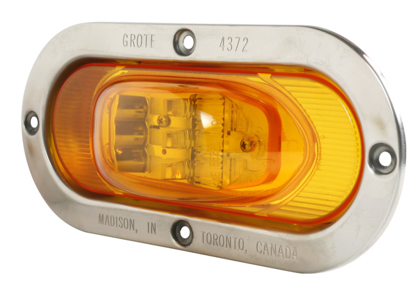 54263 – SuperNova® Oval LED Side Turn/Marker, Yellow, Male-Pin Termination, w/ Stainless Steel Theft-Resistant Flange