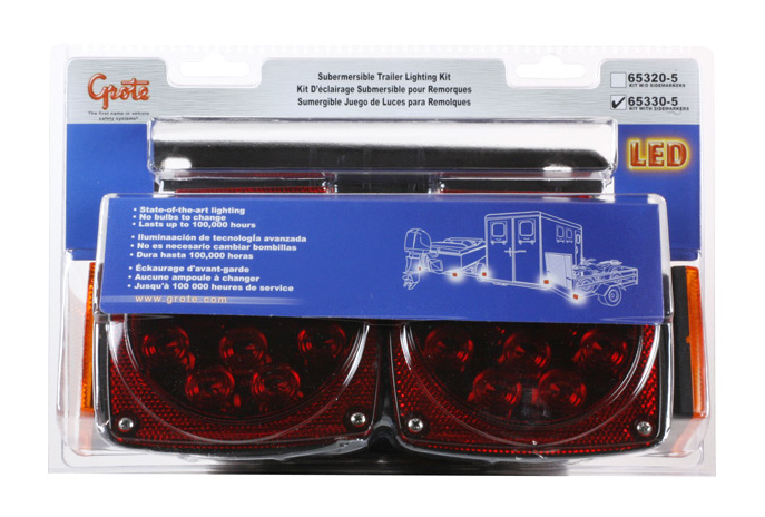 Grote Industries - 65330-5 – Submersible LED Trailer Lighting Kit, w/ Clearance Marker, Red, Retail Pack
