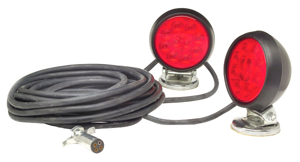 Grote Industries - 65432-4 – Heavy Duty SuperNova® LED Magnetic Towing Kit, Red