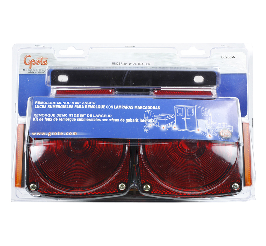 65230-5 – Submersible Trailer Lighting Kit, w/ Clearance Marker, Red/Yellow, Retail Pack