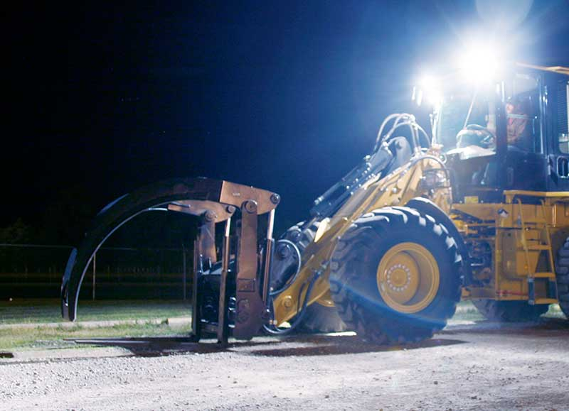 Grote LED lights on forklift at night