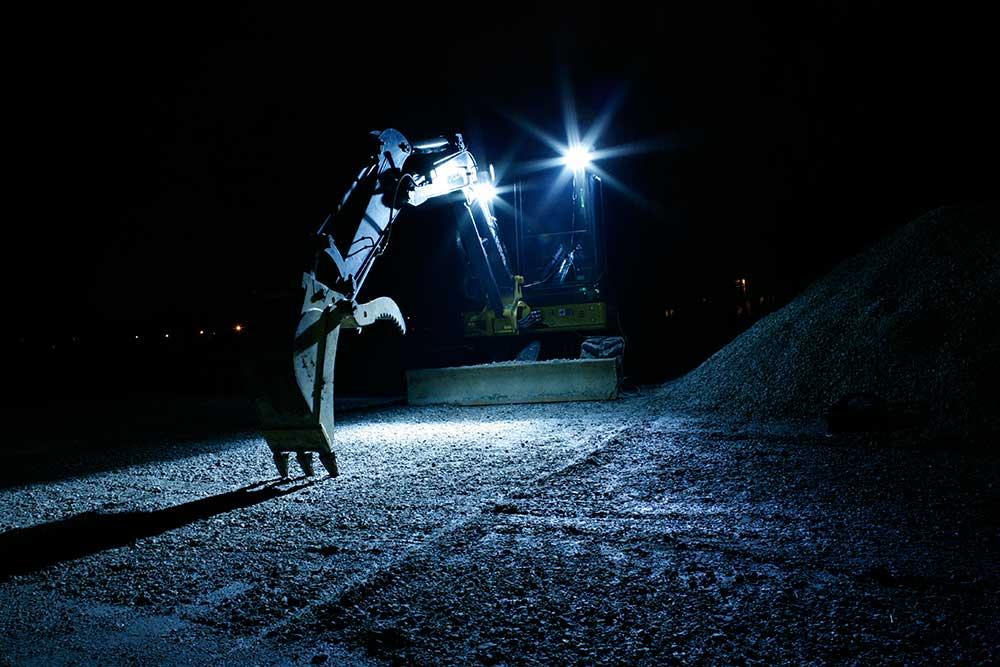 LED Lights on Construction Equipment