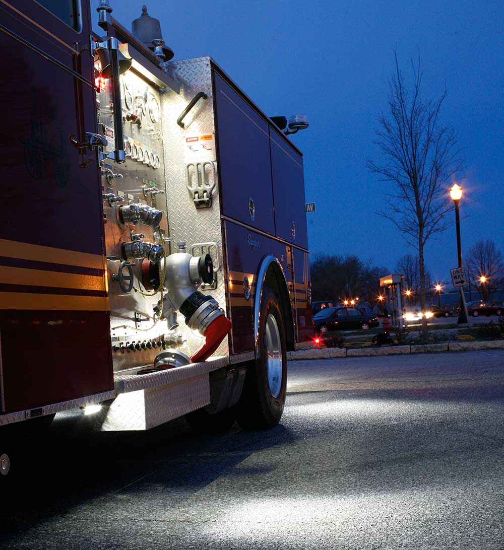Grote LED lights on side of fire truck