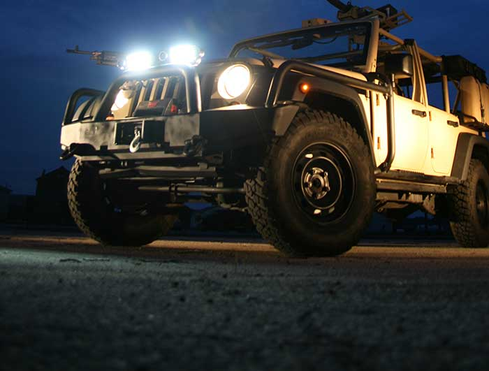 Grote LED lights on front of Jeep at night