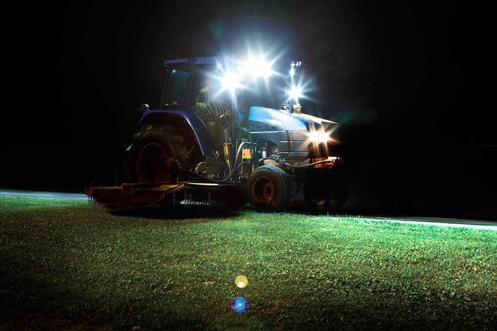Grote LED lights on tractor at night