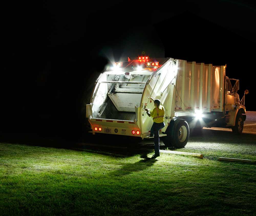 Grote LED Lights on Trash Truck