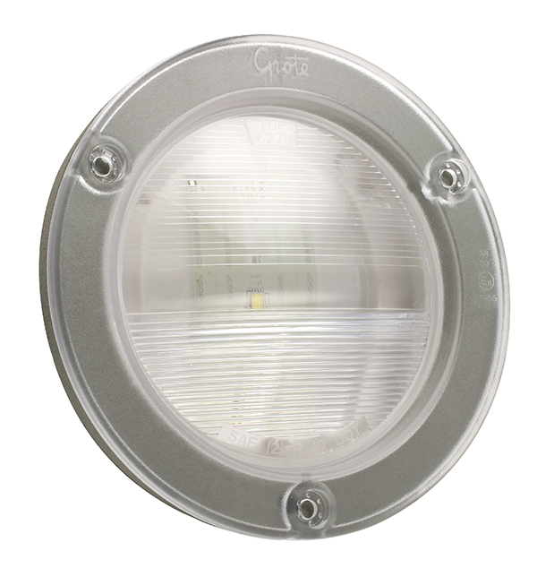 Grote Industries - 62781 – SuperNova® NexGen™ 4″ Dual-System LED Backup Light, w/ Gasketed Flanged, Male Pin, Clear