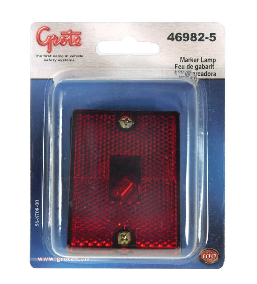 Grote Industries - 46982-5 – Rectangular Submersible Clearance Marker Light w/ Built-In Reflector, Red, Retail Pack