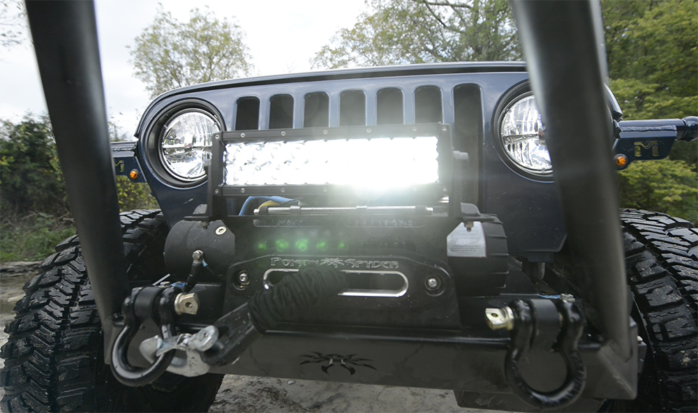 Jeep with Grote LED Light bar and Headlights