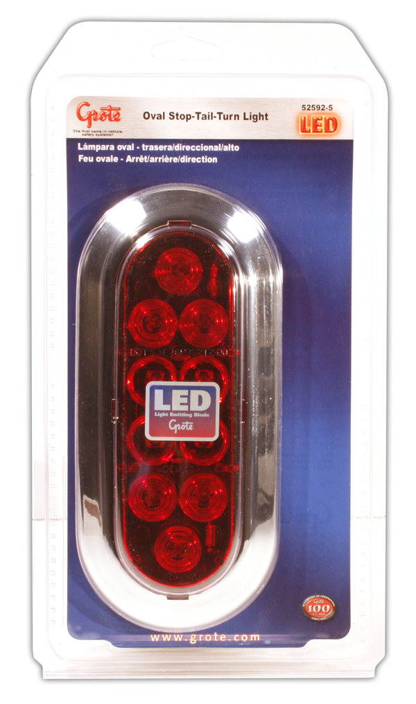 52592-5 – Oval LED Stop Tail Turn Light, Chrome Trim Ring, Red