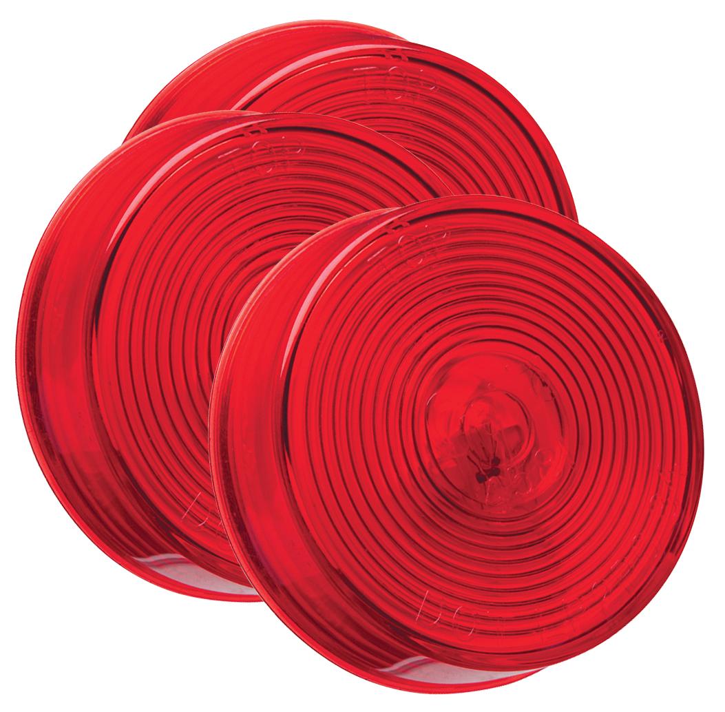45812-3 – 2 1/2″ Clearance Marker Lights, Optic Lens, Red, Bulk Pack