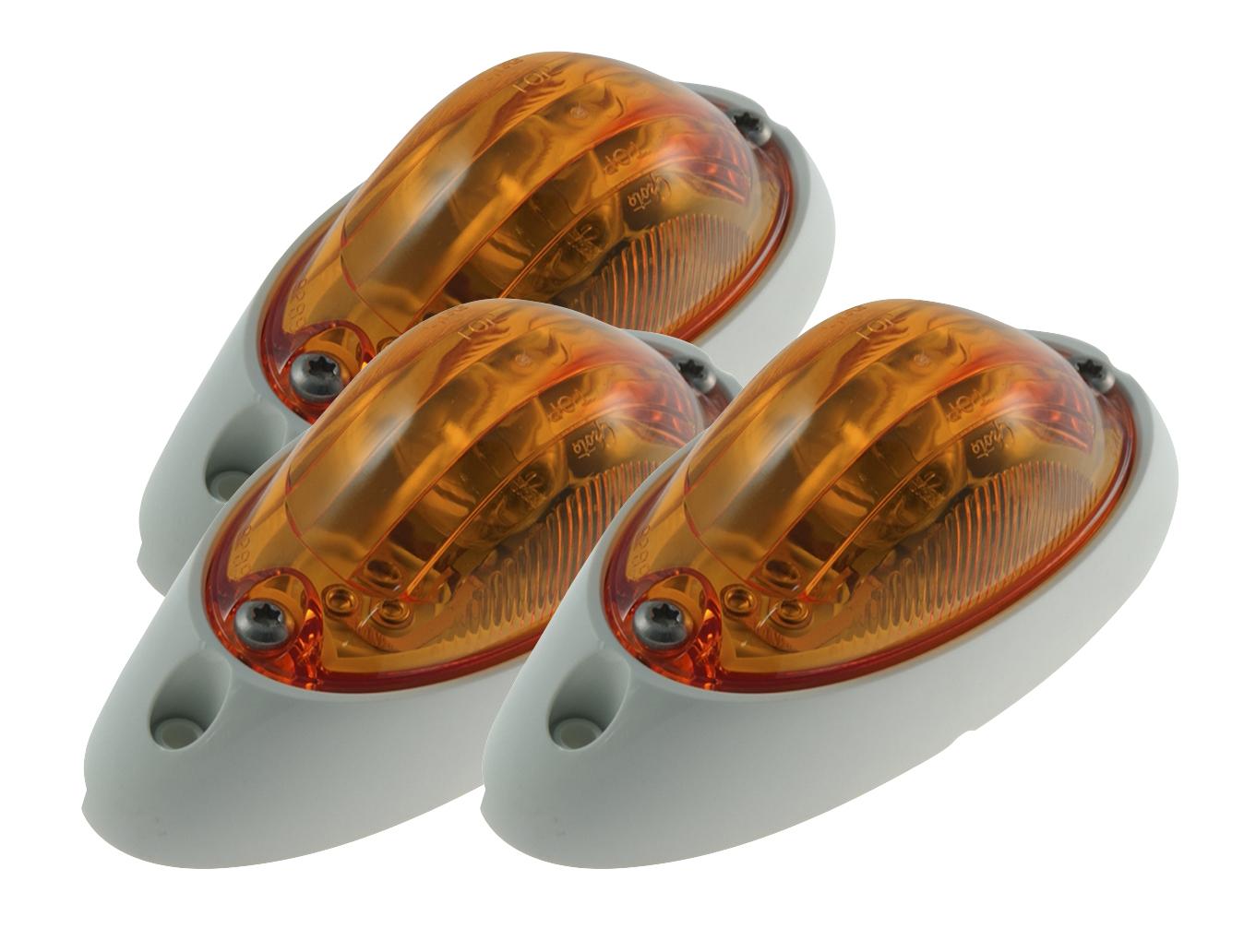 52063-3 – Small Aerodynamic Combination Marker Side Turn Light, White Base, Yellow, Bulk Pack