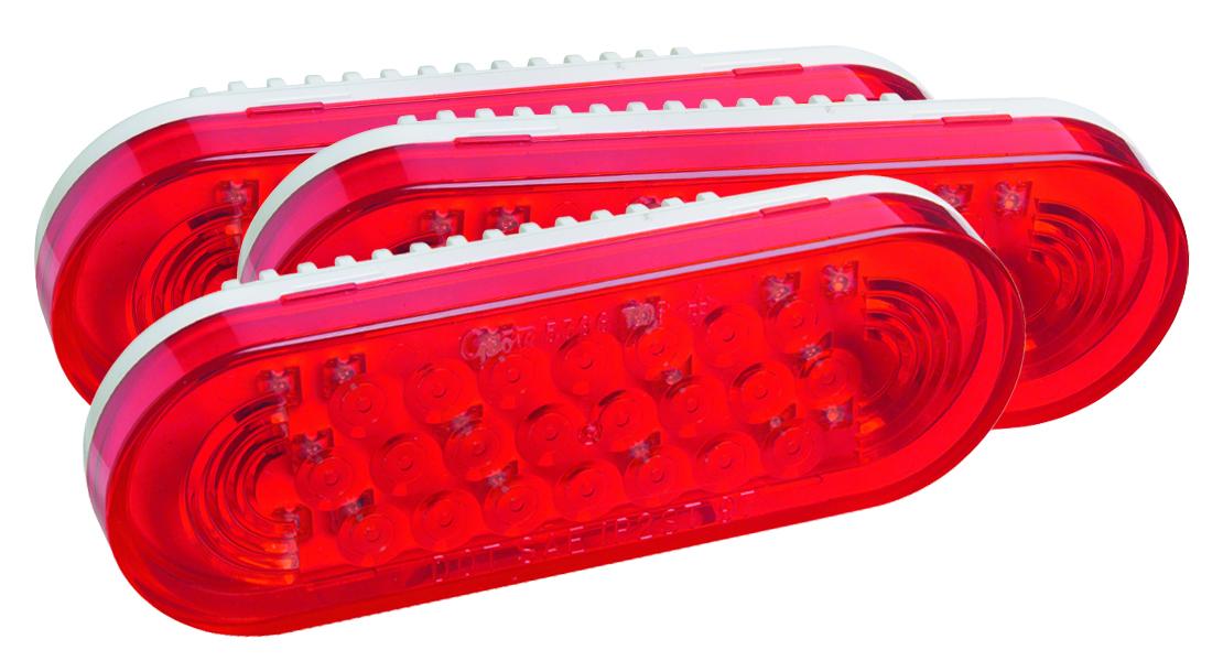 52072-3 – SuperNova® Oval LED Stop/Tail/Turn Lamp, Grommet Mount 24V, Red, Bulk Pack
