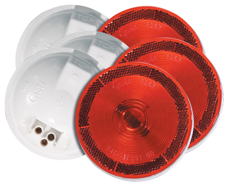 Grote Industries - 52672-3 – Torsion Mount® II 4″ Stop Tail Turn Light, Built-in Reflector, Female Pin, Red, Bulk Pack