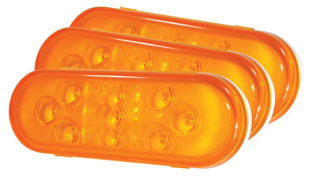 54133-3 – SuperNova® 9-Diode Oval LED Stop Tail Turn Light, Male Pin, Yellow, Bulk Pack