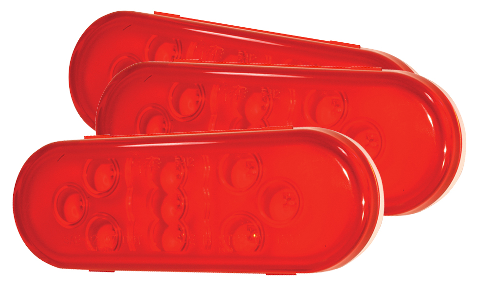 Grote Industries - 54142-3 – SuperNova® 9-Diode Oval LED Stop Tail Turn Light, Hard Shell, Red, Bulk Pack