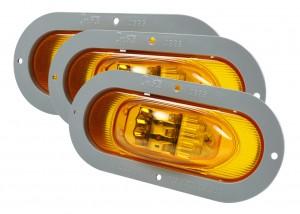 54243-3 – SuperNova® Oval LED Side Turn Marker Light, Gray Theft-Resistant Flange, Male Pin, Yellow, Bulk Pack