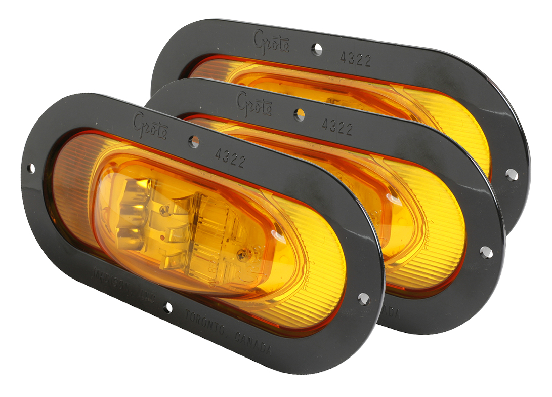 54253-3 – SuperNova® Oval LED Side Turn Marker Light, Black Theft-Resistant Flange, Male Pin, Yellow, Bulk Pack