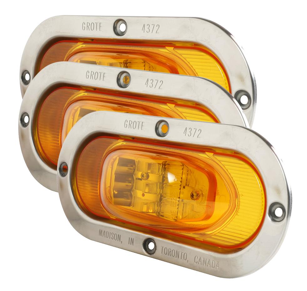 54263-3 – SuperNova® Oval LED Side Turn Marker Light, Stainless Steel Theft-Resistant Flange, Male Pin, Yellow, Bulk Pack