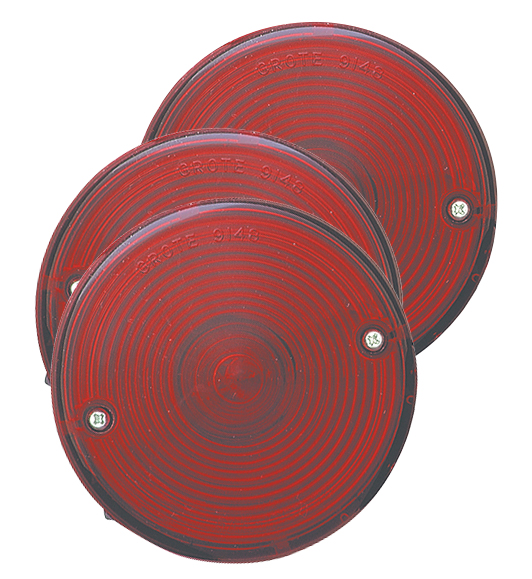 50872-3 – 4″ Universal Mount Stop Tail Turn Lights, w/ License Window, Red, Bulk Pack