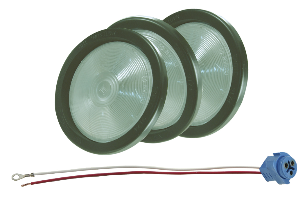 61461-3 – Torsion Mount® II 4″ Round Dome Light, Clear, Kit (61451+ 91740 + 67013), Bulk Pack